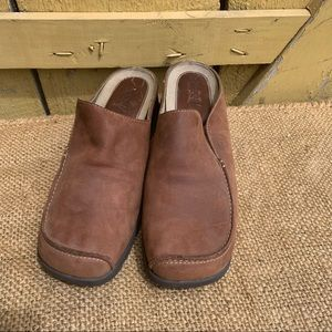 Women Timberland Mules Clogs Brown Leather Outdoor